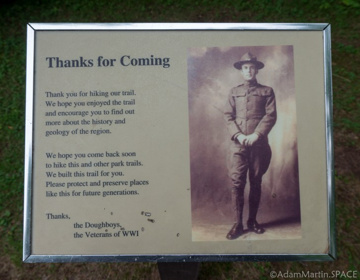 Copper Falls State Park - Doughboys sign at the trailhead