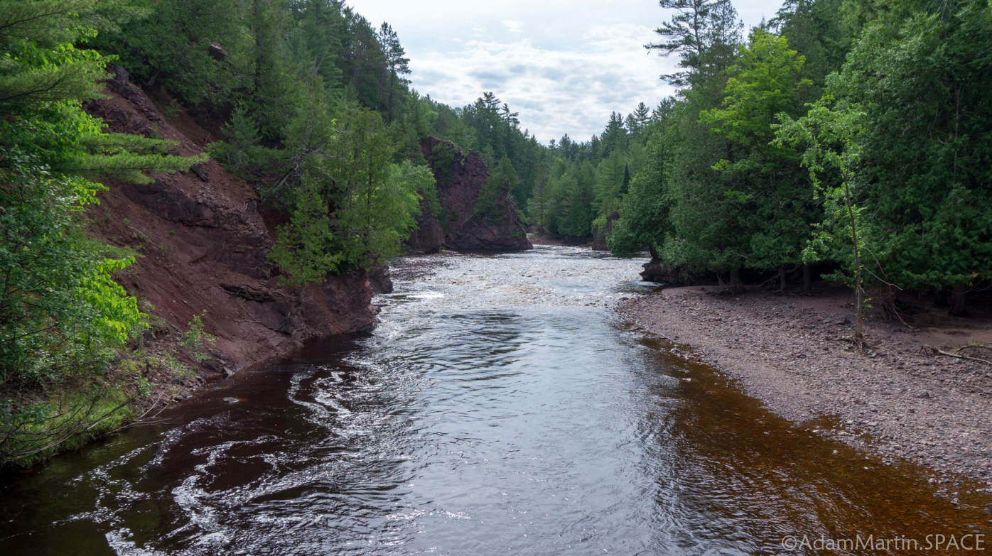 Copper Falls State Park - View from bridge over Bad River near Devil's Gate
