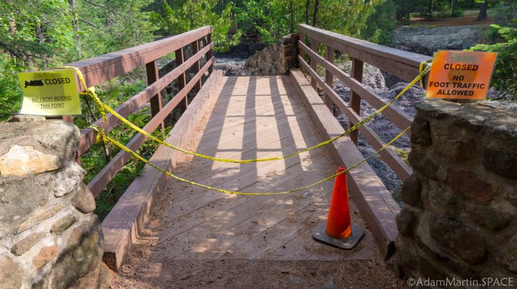 Amnicon Falls State Park - Bridge path closed off near Snake Pit Falls