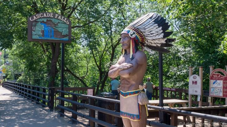Cascade Falls trailhead and Osceloa statue