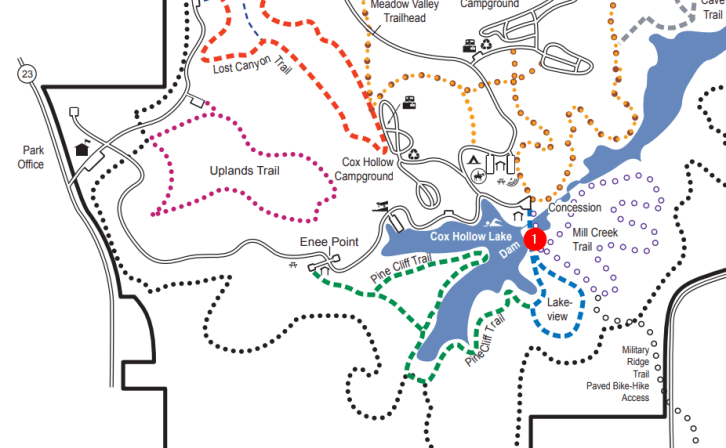 Governor Dodge State Park - Map Location of Cox Hollow Lake Falls