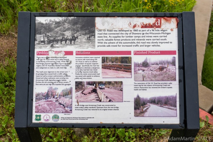 """Armstrong Creek Rapids - Faded """"Road Restored"""" sign"""