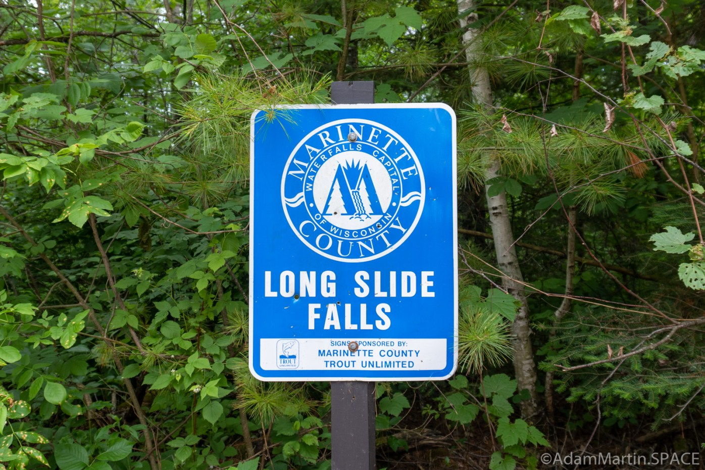 Long Slide Falls - Park sign