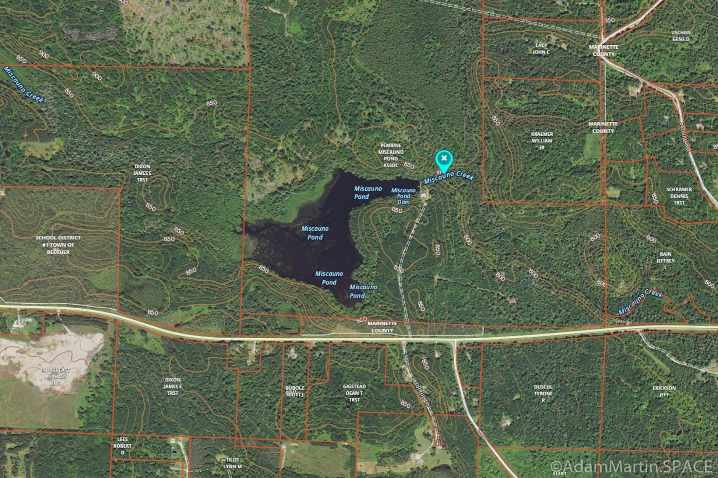 Miscauno Falls - Satellite image view of area