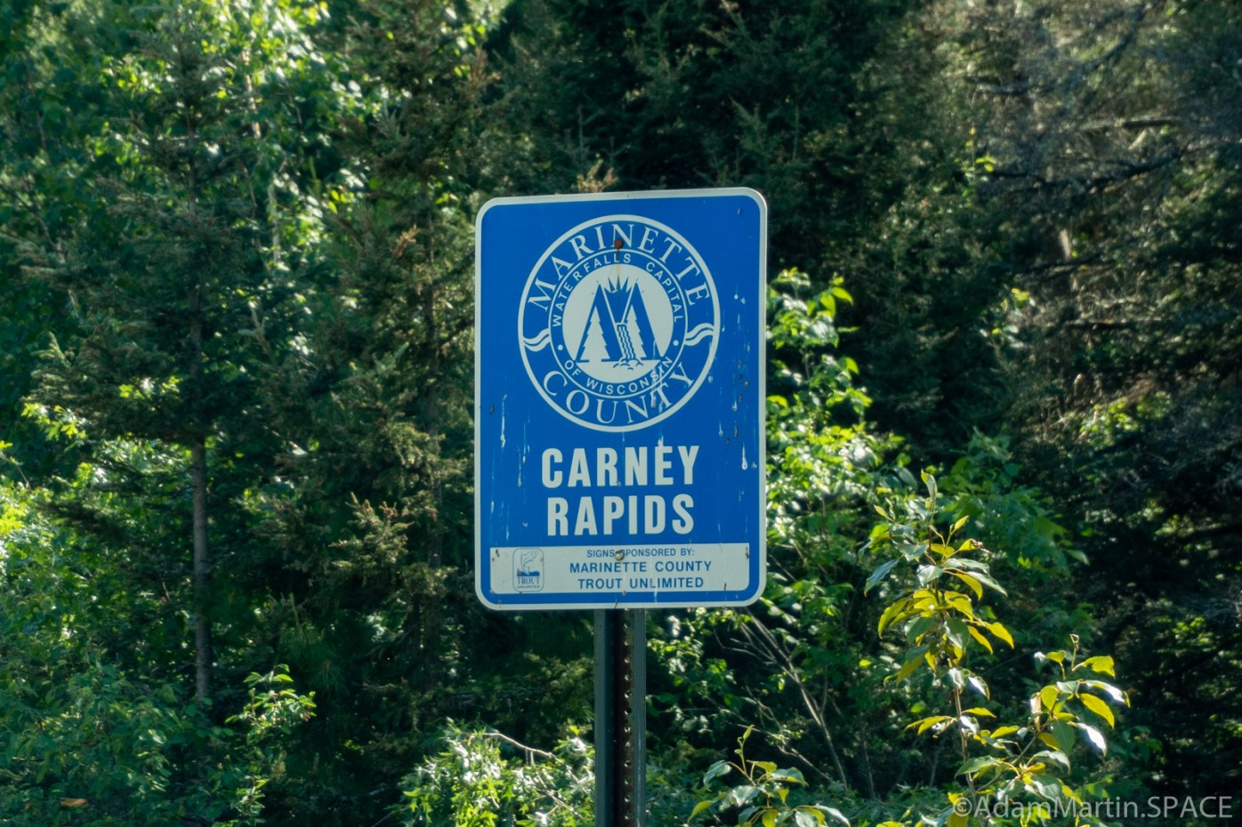 Carney Rapids - Marinette County waterfall sign