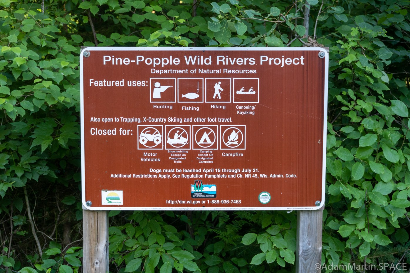 Little Bull Falls Florence (Fail) - Pine/Popple River DNR sign