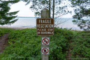 """Big Bay State Park - Boardwalk Trail """"Fragile Vegetation"""" sign"""