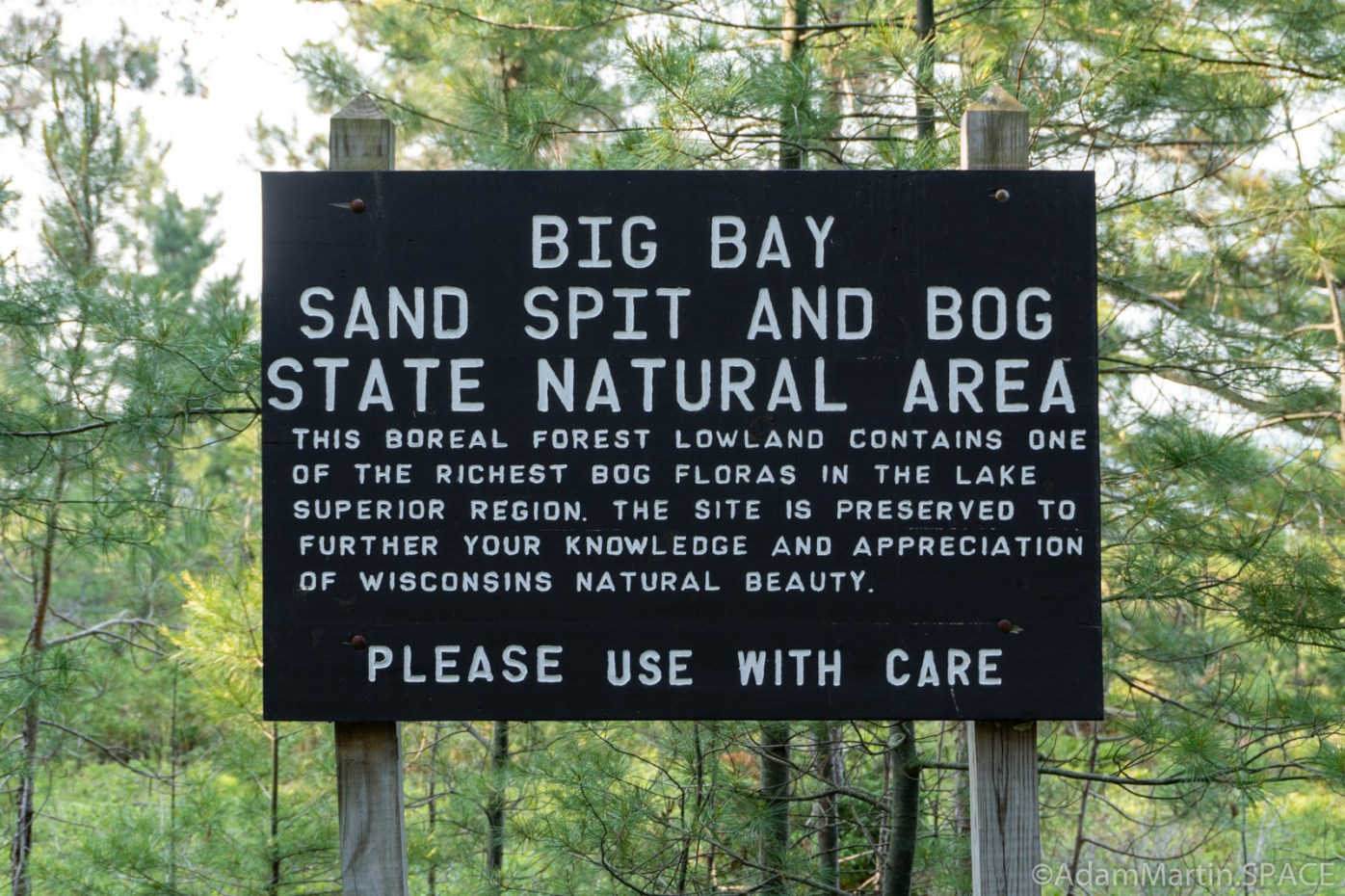 "Big Bay State Park - Boardwalk Trail ""Please Use With Care"" sign"