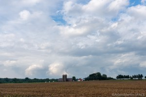 Storm clouds over farms near Eau Claire, Wisconsin
