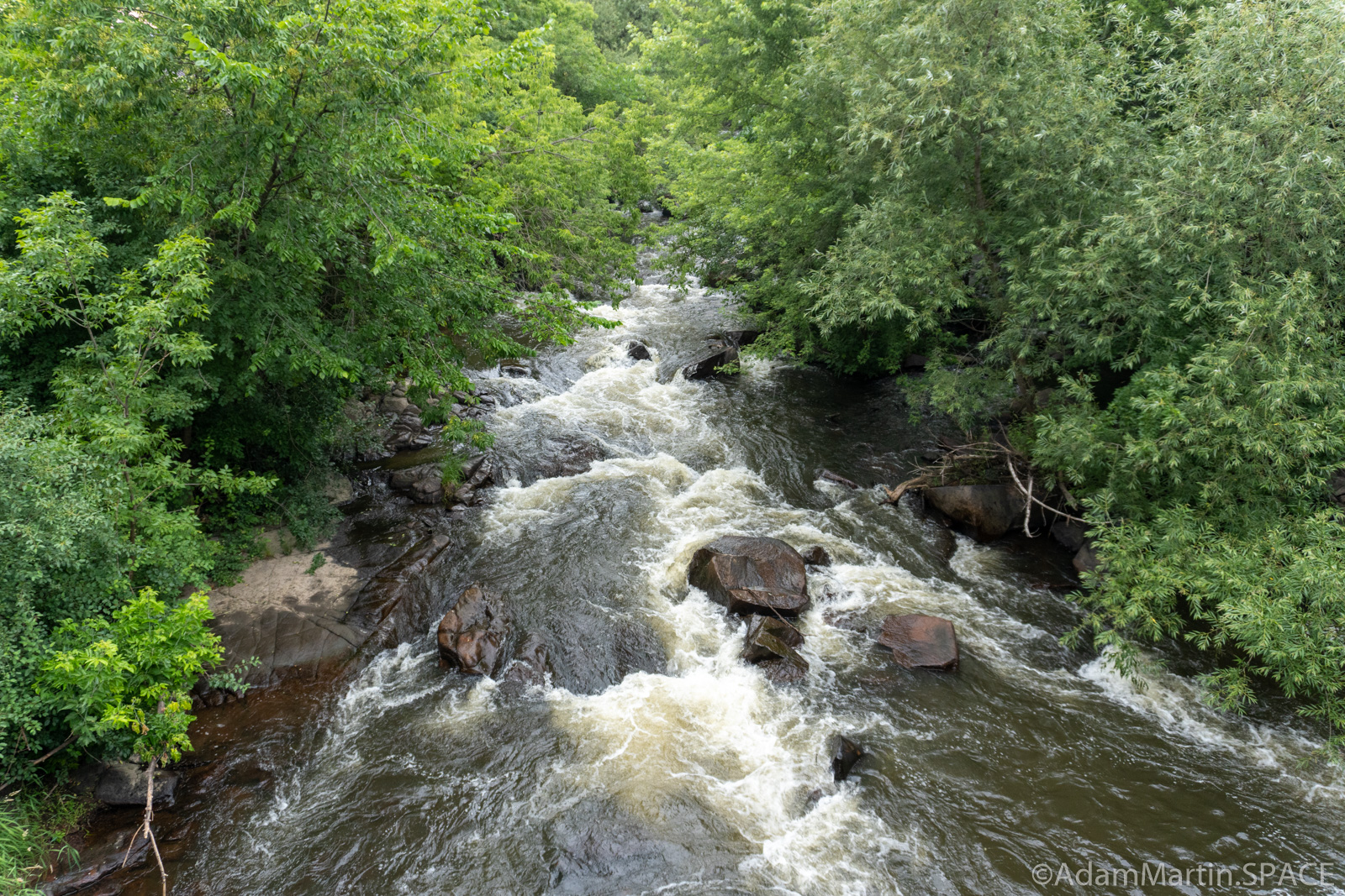 Duncan Creek Rapids - Upstream view from bridge at Columbia Street