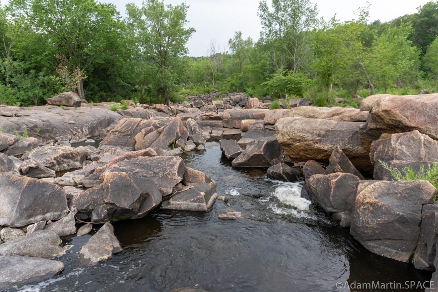 Lake Wissota Rapids - Downstream view over boulders
