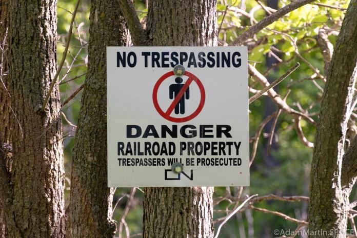"""Baird Creek - Railroad """"No Trespassing"""" sign"""