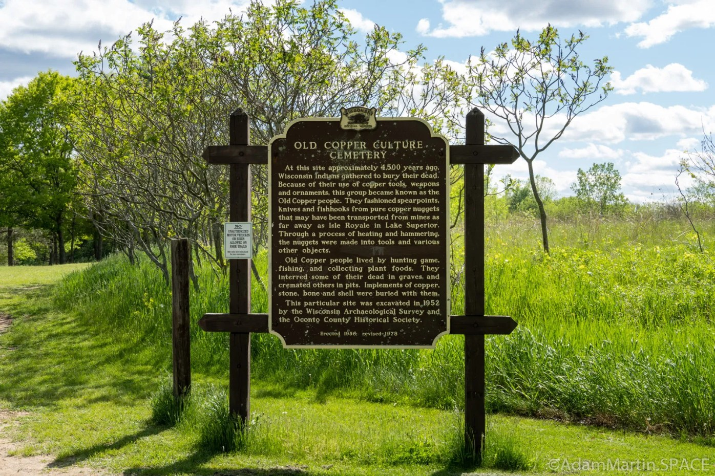 Copper Culture State Park - Old Copper Culture Cemetery sign