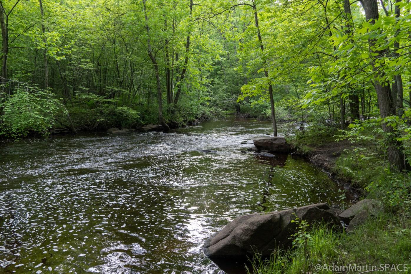 Keller Lake Falls - Calmer waters below falls on South Branch Pigeon River