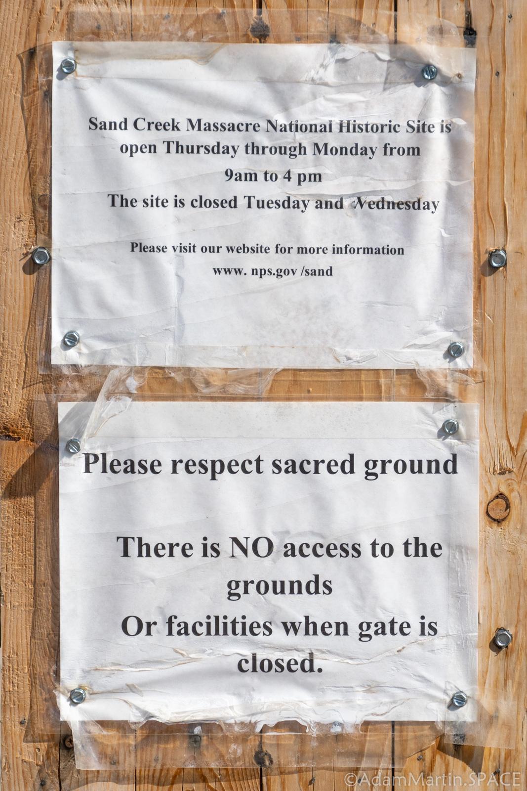 Sand Creek Massacre National Historic Site - Gate Signs