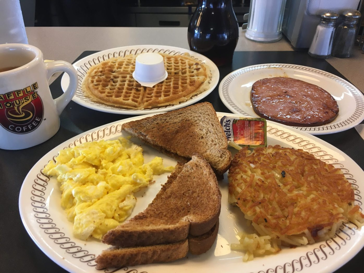 Waffle House in all its sloppy glory. Never again.