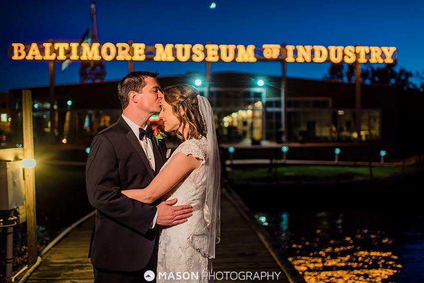 wedding portrait at baltimore museum of industry by Washington DC Wedding Photographer Adam Mason