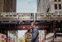 L train engagement in downtown Chicago by Washington DC Wedding Photographer Adam Mason