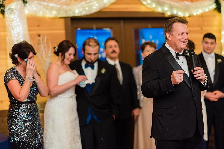speeches during reception at Barn at Klines Mill wedding by Washington DC Wedding Photographer Adam Mason