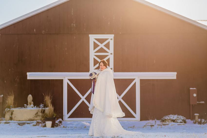 winter wedding dress with cape at barn at klines mill wedding by Washington DC Wedding Photographer Adam Mason