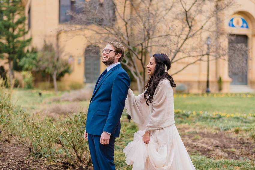 first look at st francis hall wedding in brookland DC by Washington DC Wedding Photographer Adam Mason