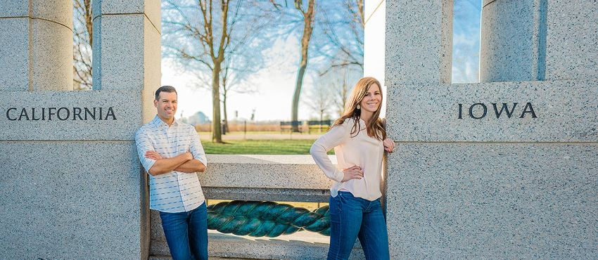 World War II memorial engagement photos by Washington DC Wedding Photographer Adam Mason