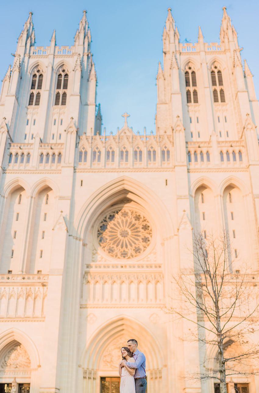 national cathedral engagement photos at sunset by Washington DC Wedding Photographer Adam Mason