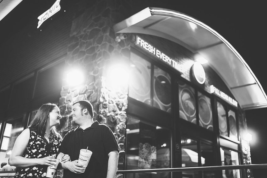 couples photo session at Sonic drive-in fast food by Washington DC Wedding Photographer Adam Mason
