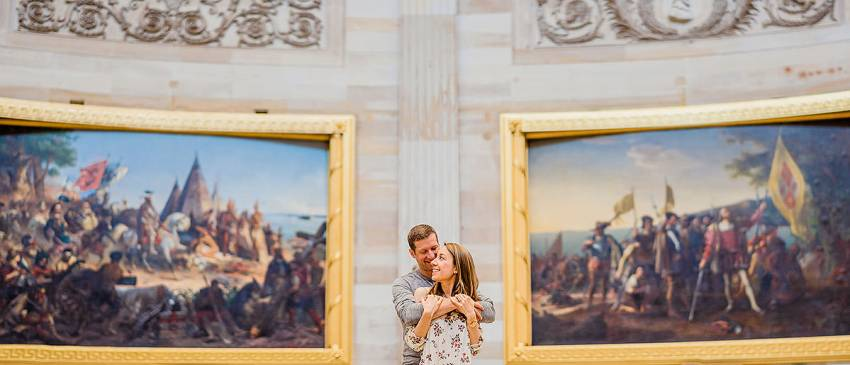 engagement photos inside the U.S. Capitol rotunda by Washington DC Wedding Photographer Adam Mason
