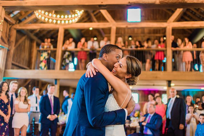 barn reception at wedding at wyndridge farm by Washington DC Wedding Photographer Adam Mason