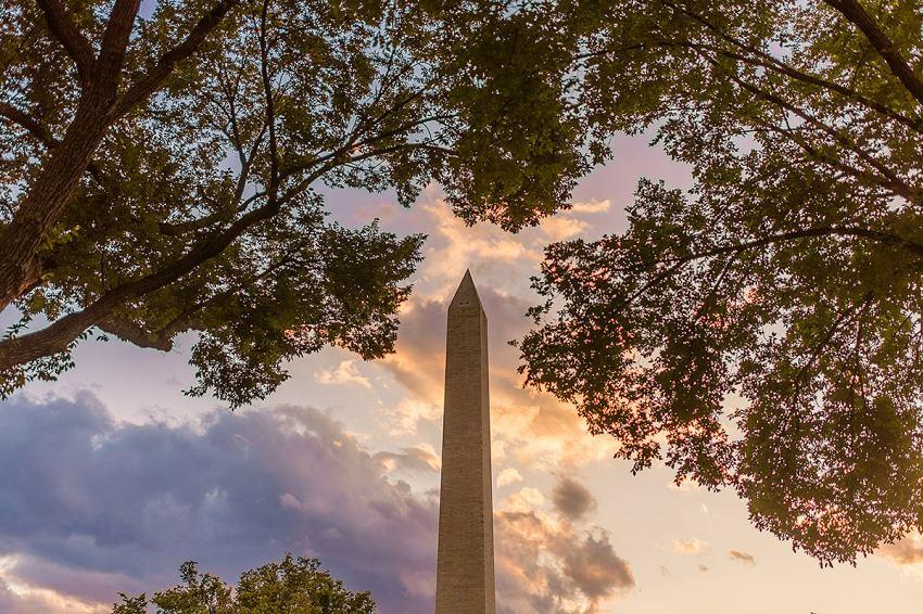 George Washington Monument at sunset by Washington DC Wedding Photographer Adam Mason