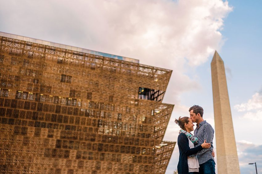 national museum of African American history and culture engagement session. by Washington DC Wedding Photographer Adam Mason