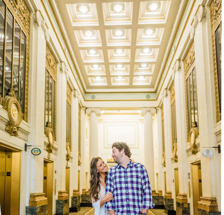 hotel monaco engagement photos in downtown baltimore by Washington DC Wedding Photographer Adam Mason
