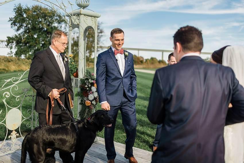 dog at thousand acre farm wedding by Washington DC Wedding Photographer Adam Mason