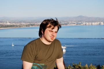 Dave contemplating that TJ hotdog