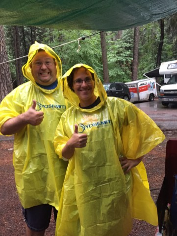 When the rains came we picked up these super fashionable plastic ponchos for just $7 in the camp store!