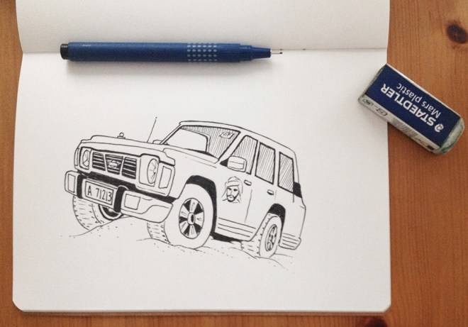 Pen sketch of the jeep
