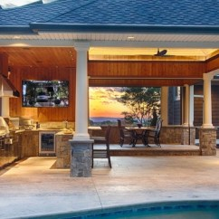 Outside Kitchen Hardware On Cabinets Poolside Outdoor Adam Pool And Spas For Improve Your Experience With An