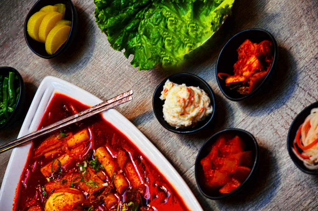 Ttoekbokki & Banchan (Korean Side Dishes)