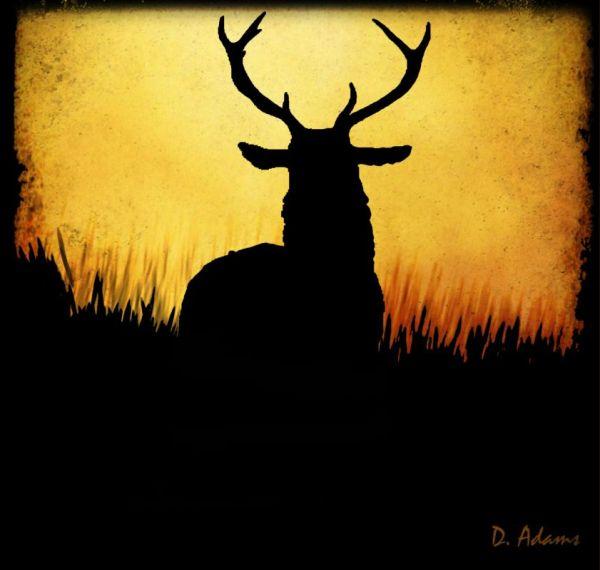 Easy Deer Painting Silhouette