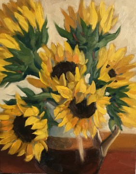"Sunflowers : Oil on board. 8""x10"" 2017 NFS"