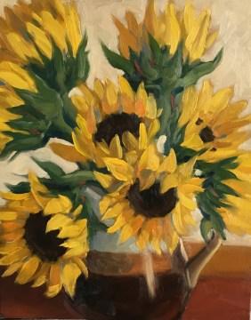"""Sunflowers : Oil on board. 8""""x10"""" 2017 NFS"""