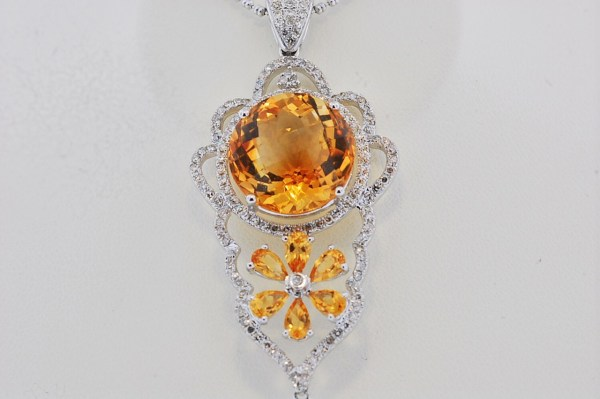CITRINE diamond necklace 52