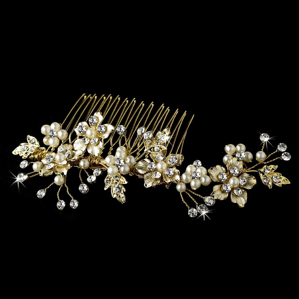 Elegant Bridal Pearl Hair Comb Accent Comb 039 Gold Adam