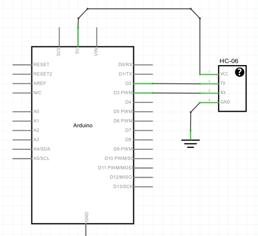 HC-06 with Breakout to Arduino UNO Schematic