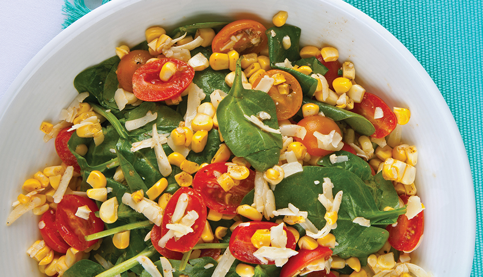 Grilled Corn, Cheddar & Tomato Salad