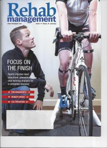 Dr. Brian Adams on the cover of Rehab Management magazine talking about bike fit and sports medicine