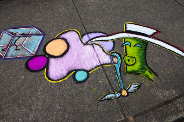 A section of Adam's Chalk the Walk 2009 piece. Photo by Kelly Bailey (flickr: kellbailey).