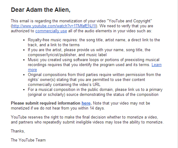 2014-01-06 copyright concern on YouTube and Copyright