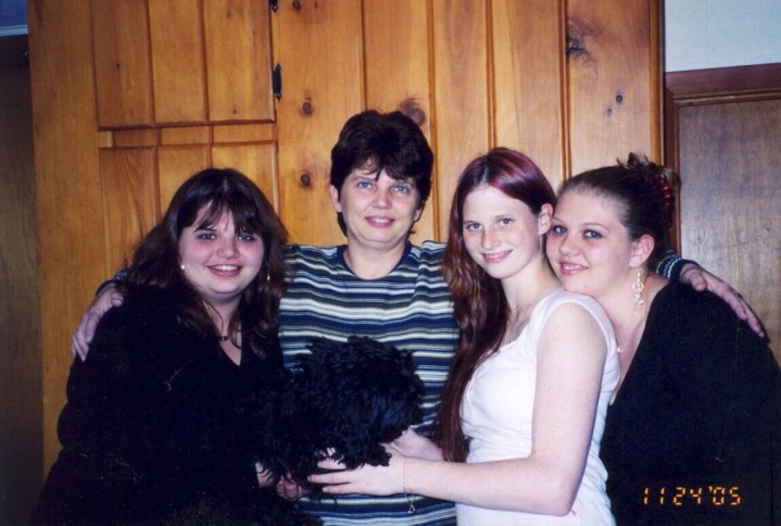 Granddaughters with their mother